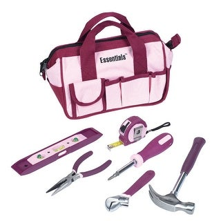 Great Neck Saw 6709D Essentials Around The House Tool Set, Pink, 7-Piece