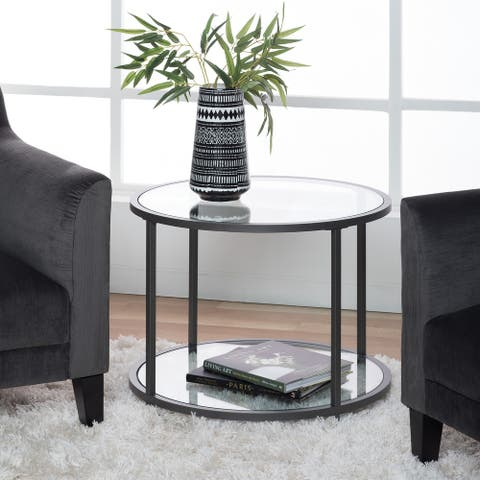 Carbon Loft Heimlich Round Glass Side Table with Metal Frame