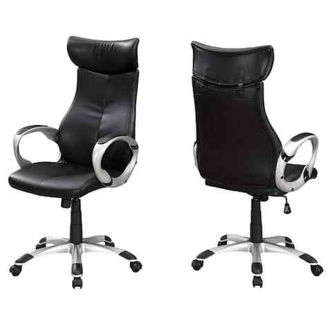 """Offex 25.5""""L High Back LeatherLook Executive Office Chair-Black,Silver - 25.5""""x 26""""x 47.5"""""""