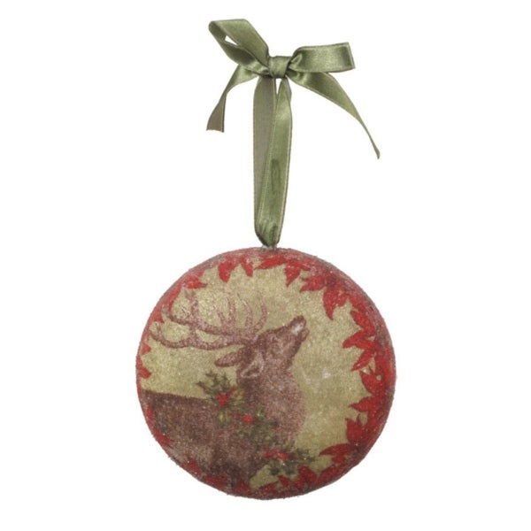 "4"" Decoupage Reindeer with Holly and Poinsettias Christmas Ornament"