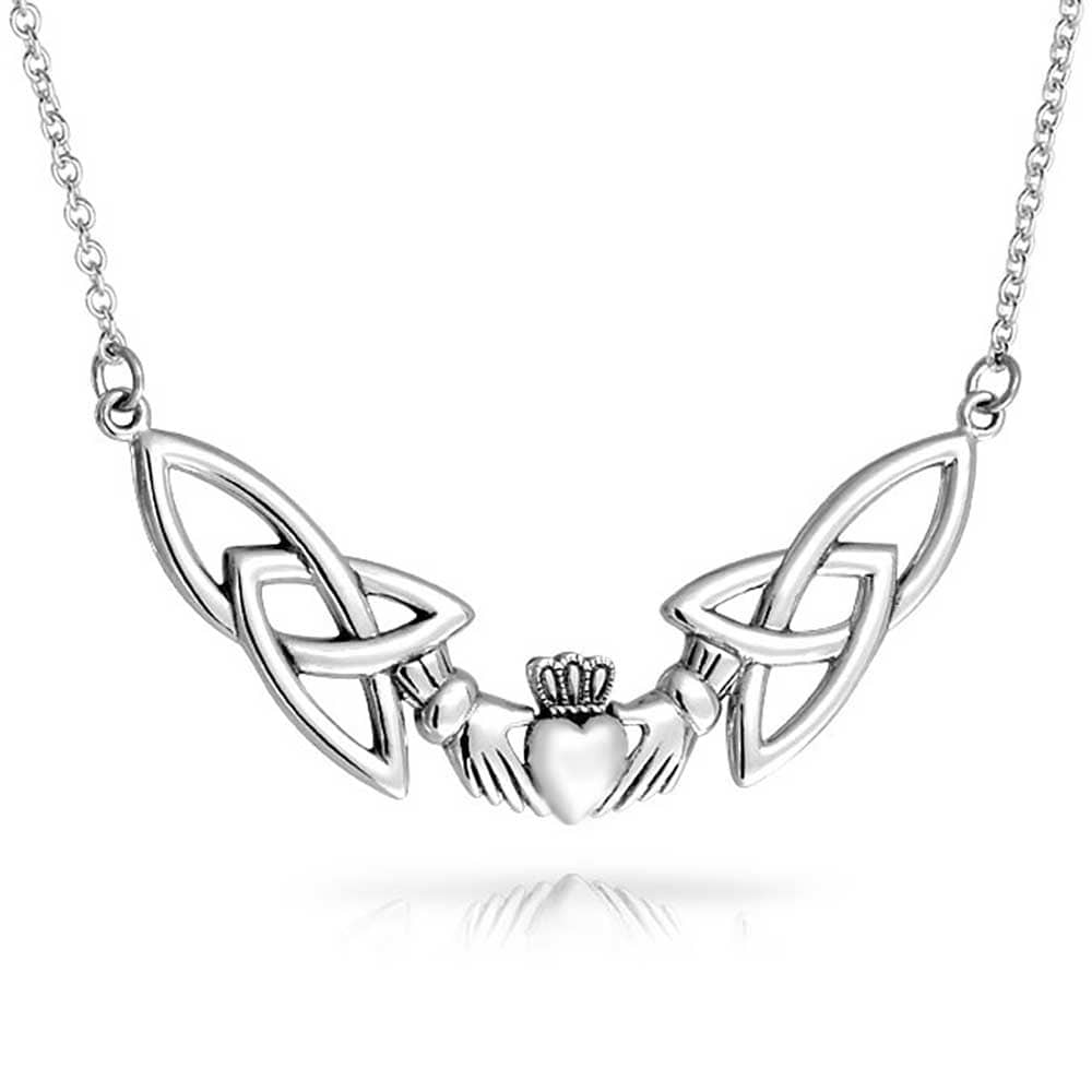 Irish Claddagh Heart Celtic Knot Charm Necklace /& Pendant in 925 Sterling Silver