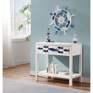 Somette Schools-Out White and Blue One Drawer Accent Table