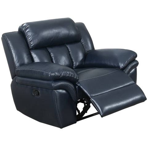 Fabric upholstered Power Recliner with Tufted Backrest, Navy Blue