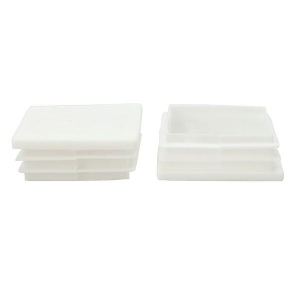 2pcs 50 x 50mm Plastic Square Ribbed Tube Inserts End Cover Cap