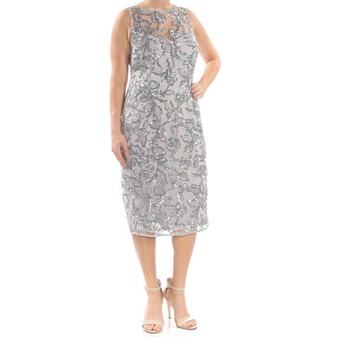 93782591d9e12 ADRIANNA PAPELL Womens Silver Sequined Embellished Midi Formal Dress Size:  12