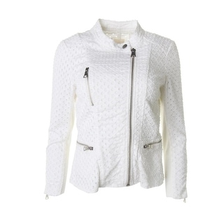 Rebecca Taylor Womens Punched Asymmetric Motorcycle Jacket - 0