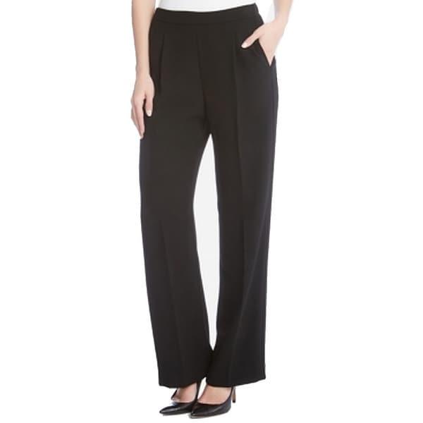 Karen Kane Black Womens Size XS Pleat-Front Dress Pants Stretch