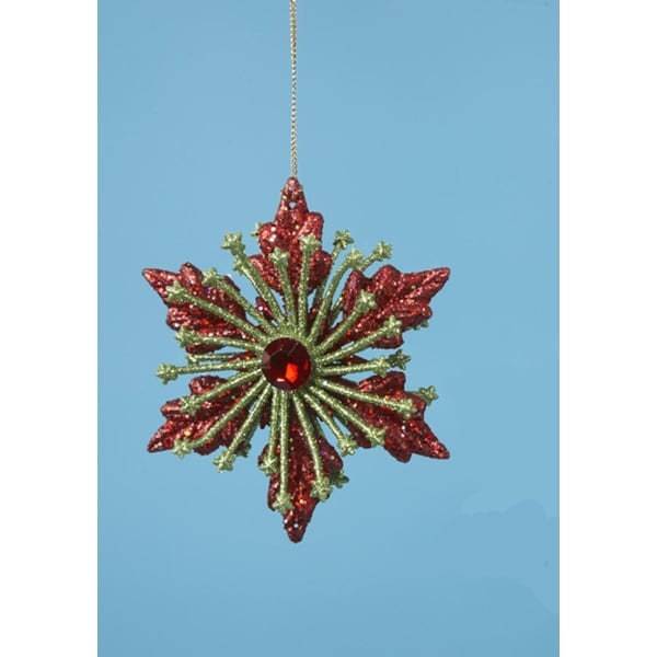 "4"" Christmas Brights Green & Red Glitter Drenched Poinsettia Holiday Ornament"