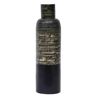 """30"""" Spun Bamboo Bottle Vase - Bamboo In Distressed Black & Matte Black"""