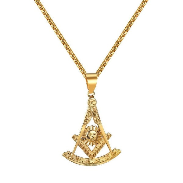 Past Master Masonic Pendant Freemason Compass Sun Square Quadrant Necklace Steel