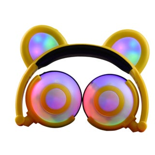 TechComm K9 Fun and Colorful Bear Ear LED Headphones with Glowing or Blinking Settings (Option: Yellow)