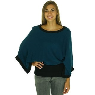 Alfani Colorblocked Dolman Sleeve Poncho Sweater - M