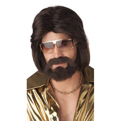 Men's Hoty 70's Wig Set - Brown - One Size Fits Most