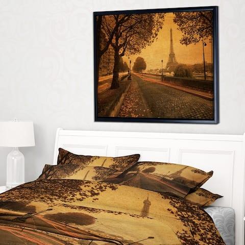 Designart 'Vintage Style View of Paris' Landscape Photography Framed Canvas Print