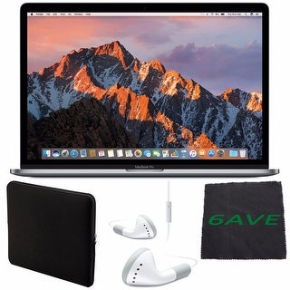 "Apple 15.4"" MacBook Pro with Touch Bar (Space Gray) #MLH42LL/A + White Wired Headphones + Padded Case + Fibercloth Bundle"