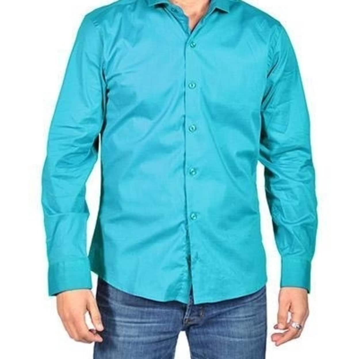 Men/'s Standard Fit Long Sleeve NEW Denim Button-Down Green Shirt M-L-XL