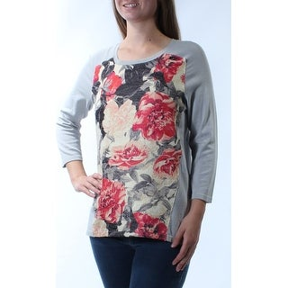 Womens Gray Floral 3/4 Sleeve Scoop Neck Top Size M