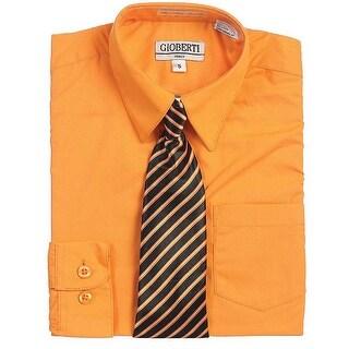 Orange Button Up Dress Shirt Black Striped Tie Set Toddler Boys 2T-4T