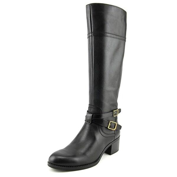 Franco Sarto Lapis Women Round Toe Leather Black Knee High Boot
