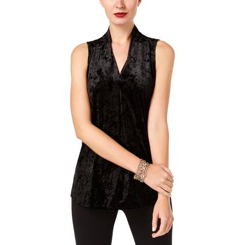 NY Collection Womens Pullover Top Velvet Pleated - XL