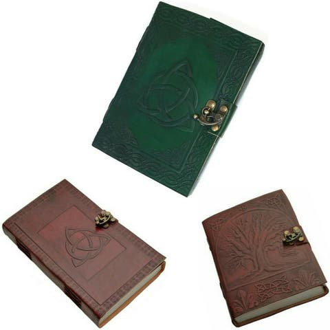 Leather Journal Tree of Life Writing Notebook Daily Notepad Triquetra Travel Diary Art Sketchbook - 5 x 7 inches