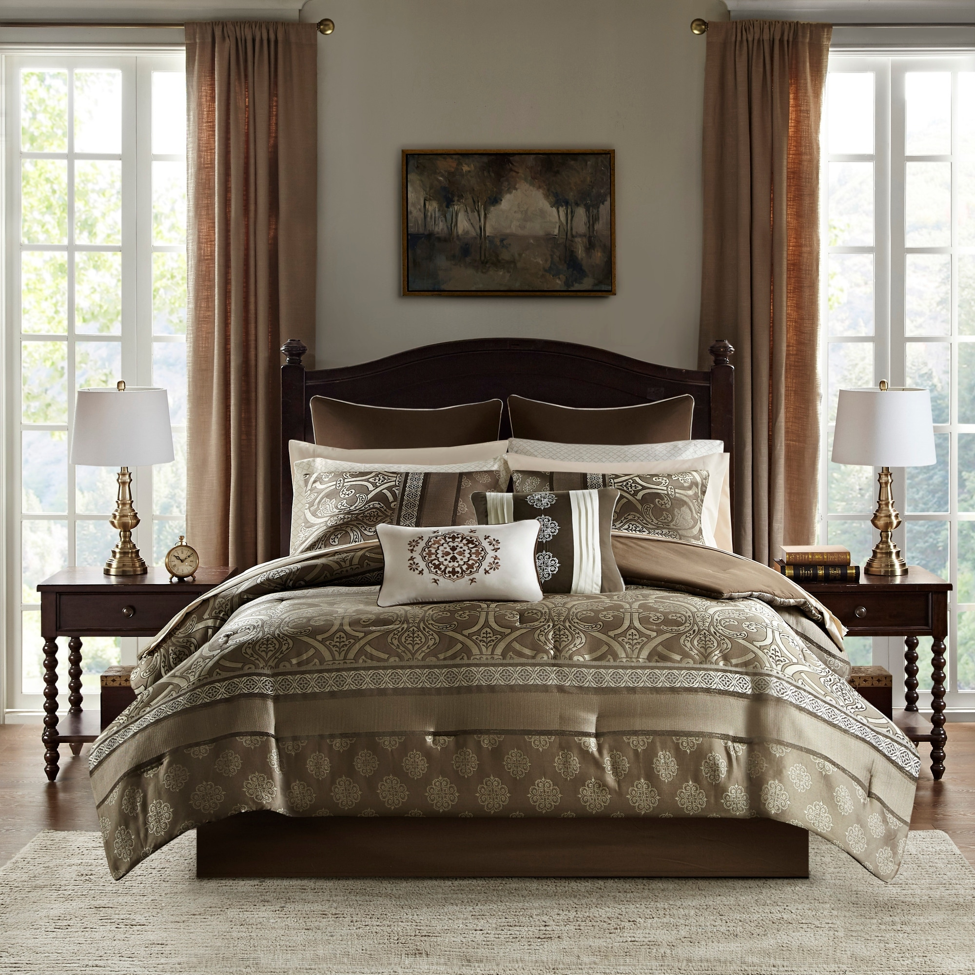 Madison Park Essentials Alexine Brown 16 Piece Jacquard Complete Bedding Set With 2 Sheet Sets On Sale Overstock 27406018