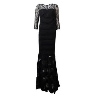 JS Collection Women's Illusion Lace Pintucked Jersey Gown - Black