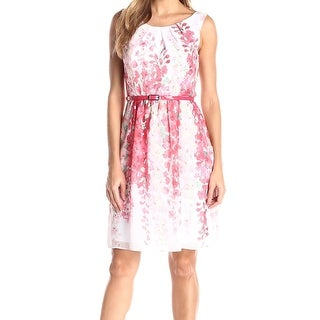 Connected Apparel NEW Pink Coral Women's Size 8 Pleated Belted Dress
