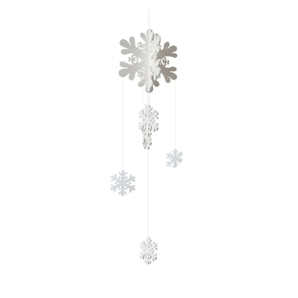 "35"" Winter Light Shimmering White Snowflake Christmas Mobile Ornament"