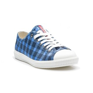 Prada Men's Flat Sneaker Shoes Lace Up Nylon Fabric Plaid Blue