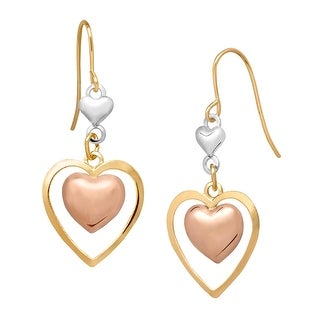 Eternity Gold 14K Tri-Colored Gold Double Heart Drop Earrings - three-tone