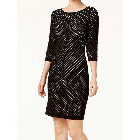 b6eea4da8c3b Calvin Klein Black Womens Size Medium M Laser Cut Knit Sheath Dress