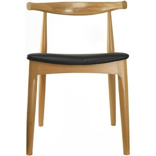 2xhome Natural Solid Real Wood PU Leather Cushion Seat Wood Retro Dining Chairs Armless No Arm Side Armless Desk - N/A