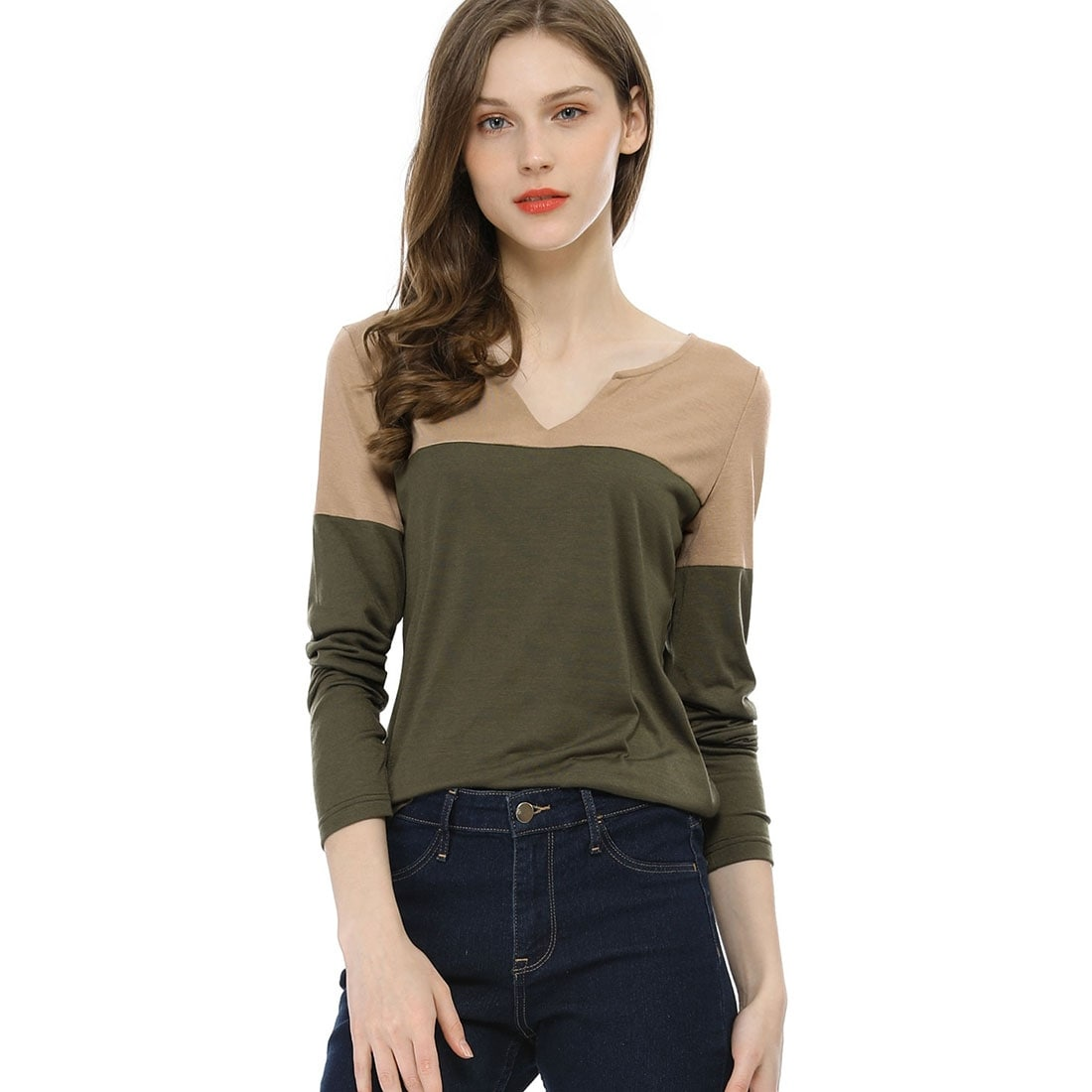9bdec6c8d45 Shop Unique Bargains Women Split V-neck Long Sleeves Color Block T-Shirt -  Free Shipping On Orders Over $45 - Overstock - 28267345