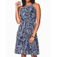 Tommy Hilfiger Blue Women's Size 8 Paisley Print A-Line Dress