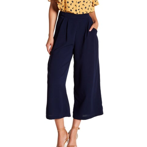 Elodie Navy Blue Womens Size Large L Wide-Leg Pull-On Dress Pants