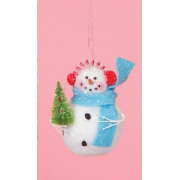 """4.5"""" Cupcake Heaven Snowman with Tree and Blue Scarf Christmas Ornament - WHITE"""