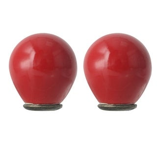 2pcs Ceramic Knobs Vintage Knob Drawer Round Puller Handle Furniture Cabinet Cupboard Wardrobe Dresser Decorative, Red
