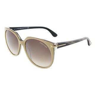 Tom Ford FT0370/S 38B AGATHA Bronze/Marbled Black Oval sunglasses - bronze/marbled black
