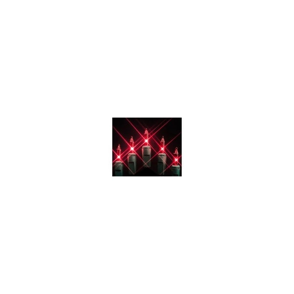 """Christmas at Winterland MINI-100-4-R 33 Foot String of Red Mini Incandescent Lights w/ 4"""" Spacing & Green Wire Indoor / Outdoor"""