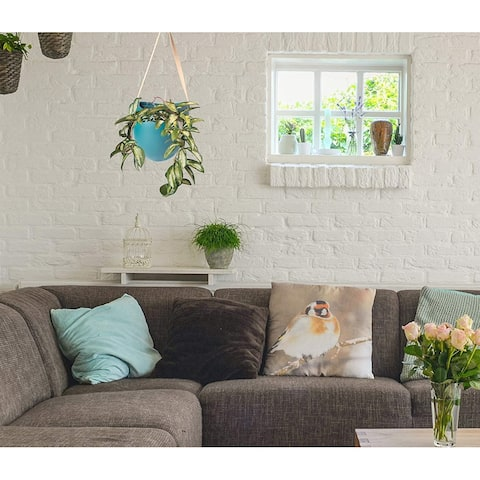 Wall Hanging Planter Ceramic Plant Pots with Artificial Leather Hanger Indoor and Outdoor