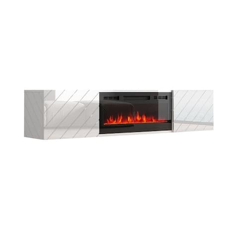 """Luxe EF Wall Mounted Electric Fireplace Modern 72"""" TV Stand"""