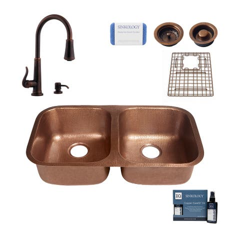 """Kandinsky 32.25"""" Undermount Copper Kitchen Sink with Ashfield Faucet and Drains"""