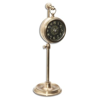 "12"" Black Brass Pocket Watch Style Desk Clock on Adjustable Telescopic Stand"