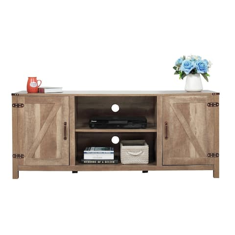 Industrial TV Stand Console Wooden Media Center w/ Shelves Storage
