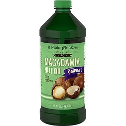Piping Rock Macadamia Nut Oil 100% Pure Virgin 16 fl. oz. (473 ml) - green - 473 ml