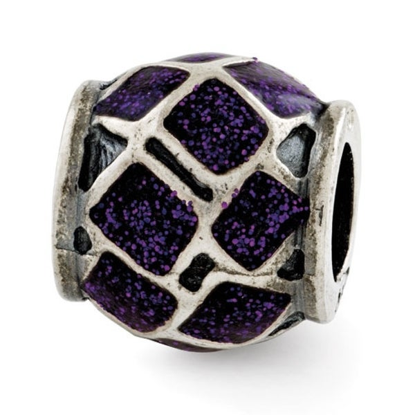 Italian Sterling Silver Reflections Purple Enamel with Sparkles Bead