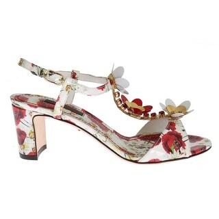 Dolce & Gabbana Dolce & Gabbana White Leather Floral Crystal Sandals