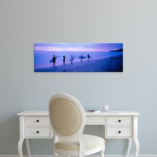 Easy Art Prints Panoramic Images's 'Surfers on Beach Costa Rica' Premium Canvas Art