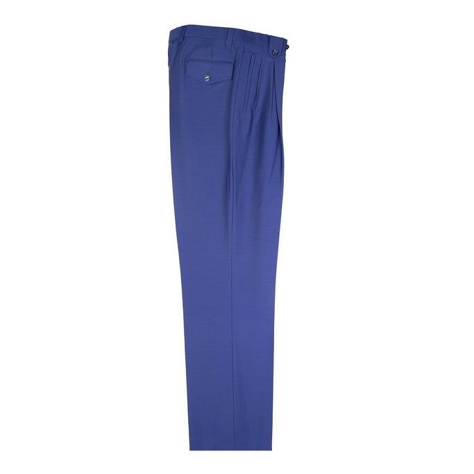 Tiglio French Blue Wide Leg Pure Wool Dress Pants 2576